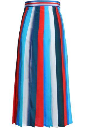 STELLA JEAN Pleated striped crepe de chine midi skirt