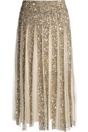 ALICE + OLIVIA Pleated sequined tulle skirt