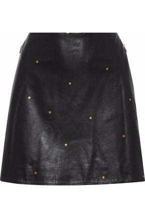L'AGENCE Jolie metallic printed leather mini skirt