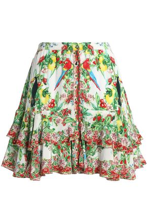 CAMILLA Tiered crystal-embellished printed silk mini skirt