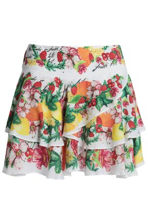 CAMILLA Embellished tiered printed voile mini skirt