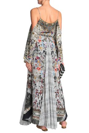 CAMILLA Raise Your Glass printed paneled silk-voile and crepe de chine maxi skirt