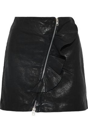 W118 by WALTER BAKER Venus ruffle-trimmed leather mini skirt