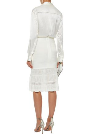 HERVÉ LÉGER Pointelle knit-paneled bandage skirt