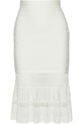HERVÉ LÉGER Pointelle knit-paneled bandage skirt