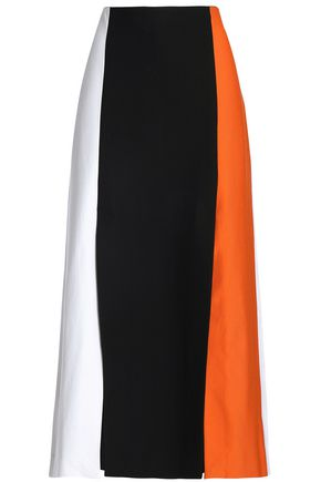ROSETTA GETTY Color-block paneled stretch-jersey skirt