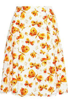 CAROLINA HERRERA Pleated printed cotton skirt