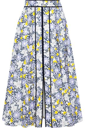 CAROLINA HERRERA Grosgrain-trimmed floral-print cotton-blend midi dress