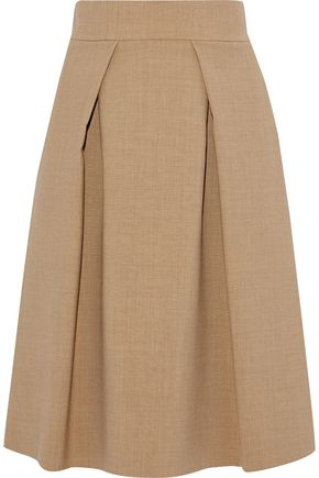 CAROLINA HERRERA Pleated wool-blend skirt