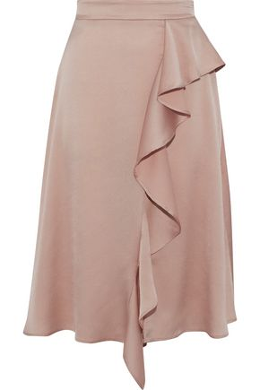 IRIS & INK Cher ruffled hammered-satin skirt