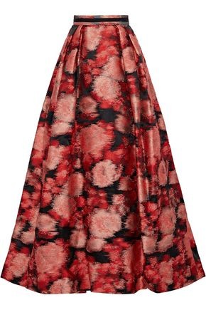 CAROLINA HERRERA Pleated jacquard maxi skirt