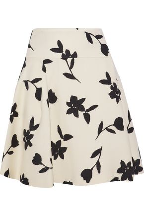 CAROLINA HERRERA Pleated intarsia wool-twill mini skirt