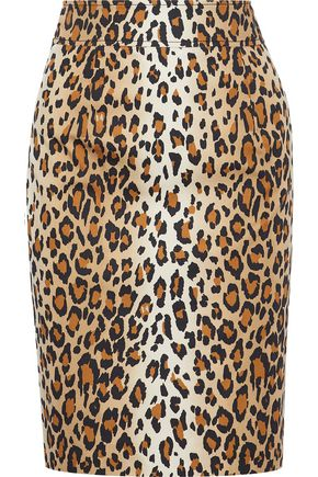 CAROLINA HERRERA Leopard-print stretch-cotton twill pencil skirt
