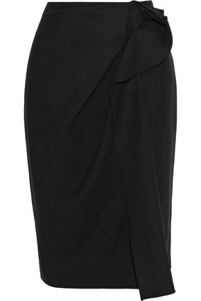 CAROLINA HERRERA Wrap-effect stretch wool-twill skirt