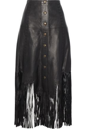 HAUTE HIPPIE Fringe-trimmed leather midi skirt