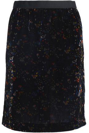 VANESSA BRUNO ATHE' Floral-print velvet skirt