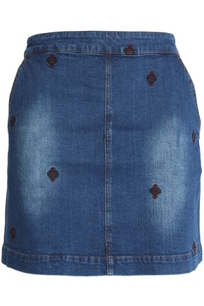 VANESSA BRUNO ATHE' Embroidered denim mini skirt