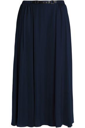 HALSTON HERITAGE Belted satin midi skirt