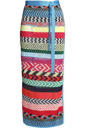 MARY KATRANTZOU Evaris striped jacquard-knit maxi wrap skirt