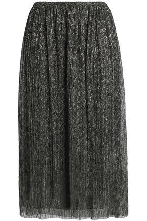 HALSTON HERITAGE Metallic plissé georgette midi skirt
