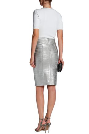 HERVÉ LÉGER Metallic coated bandage skirt