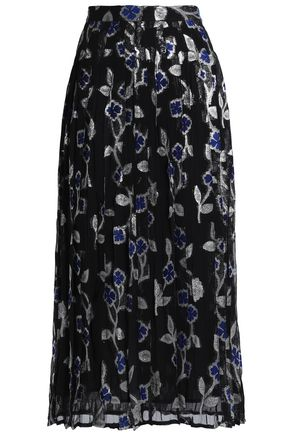 DODO BAR OR Pleated metallic jacquard midi skirt