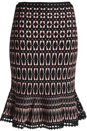 HERVÉ LÉGER Fluted jacquard-knit skirt