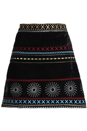 DODO BAR OR Embroidered chenille mini skirt