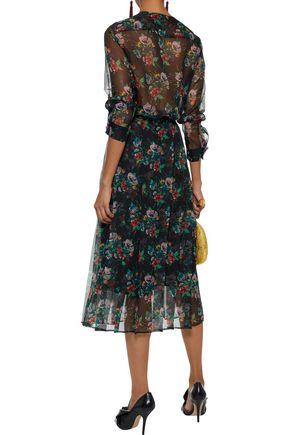 CHRISTOPHER KANE Crystal-embellished pleated floral-print silk-gauze midi skirt