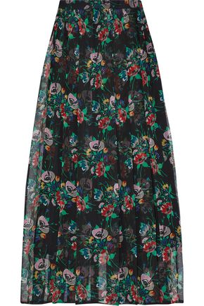 CHRISTOPHER KANE Crystal-embellished pleated floral-print silk-gauze midi skirt
