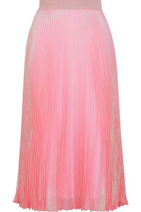CHRISTOPHER KANE Brillo Pad pleated silk-blend lamé midi skirt