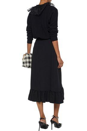 CHRISTOPHER KANE Crystal-embellished ruffled crepe midi skirt