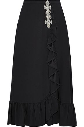 CHRISTOPHER KANE Crystal-embellished ruffled crepe midi skirt