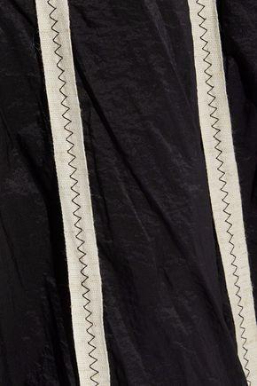DEREK LAM Canvas-trimmed crinkled cotton-blend shell midi skirt