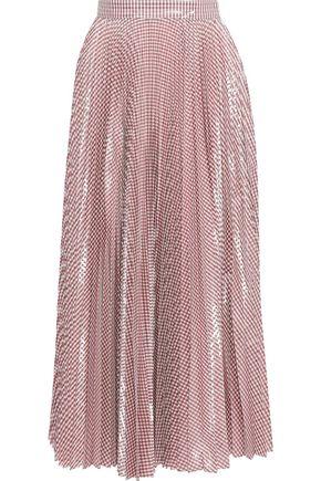 CHRISTOPHER KANE Metallic pleated gingham woven maxi skirt