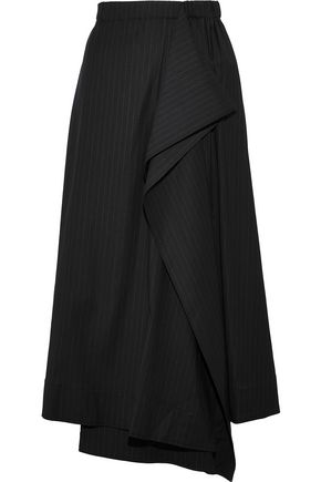 CEDRIC CHARLIER Draped pinstriped wool-blend twill midi skirt
