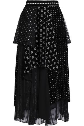 DODO BAR OR Layered embroidered chenille and crepon midi skirt