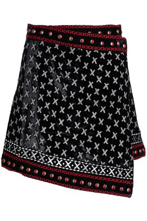 DODO BAR OR Asymmetric embroidered chenille mini skirt