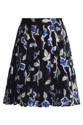 DODO BAR OR Pleated metallic floral-jacquard mini skirt