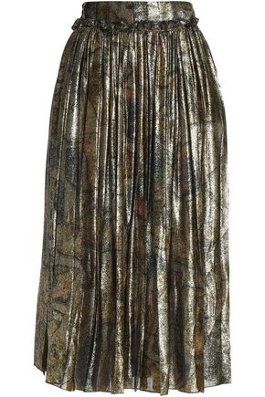 MAISON MARGIELA Ruffle-trimmed metallic silk-blend midi skirt