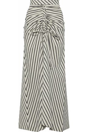 PAPER London Saskia bow-detailed striped canvas maxi skirt