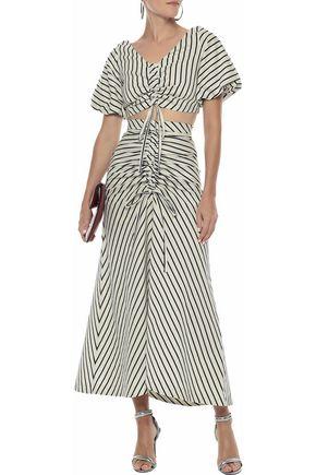PAPER London Saskia bow-detailed striped canvas maxi skirt