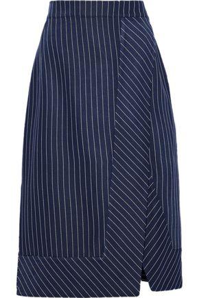 ALTUZARRA Jude wrap-effect pinstriped gabardine skirt