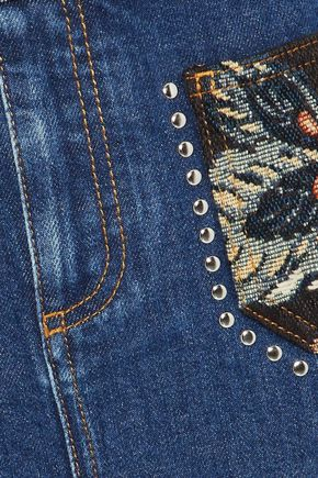 STELLA McCARTNEY Jacquard-paneled studded denim mini skirt