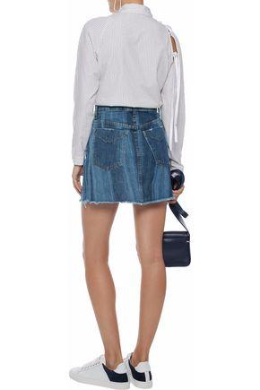 DEREK LAM Cleo frayed faded denim mini skirt