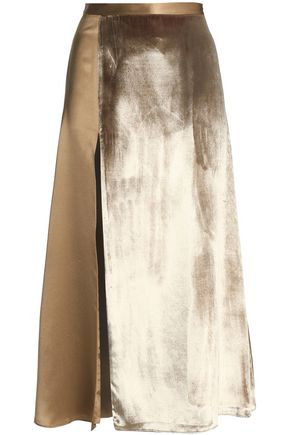 MICHELLE MASON Split-front paneled velvet and silk-satin midi skirt