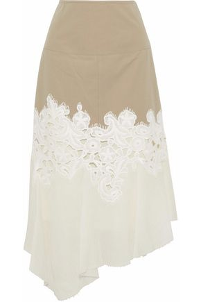 DEREK LAM Paneled twill, guipure lace and cotton-gauze midi skirt