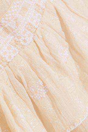 LOVE SAM Midsummer Moments embroidered cotton-jacquard mini wrap skirt