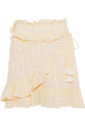LOVE SAM Midsummer Moments embroidered cotton-jacquard mini wrap skirt
