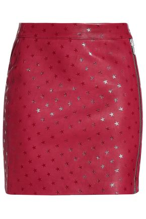 ZOE KARSSEN Printed leather mini skirt